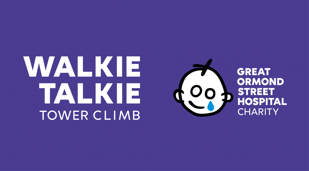 Walkie Talkie Tower Climb 2018 Logo and GOSH lockup WHITE ON PURPLE