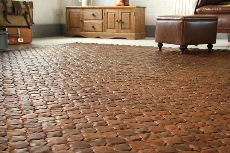 Leather rug Caramel G web