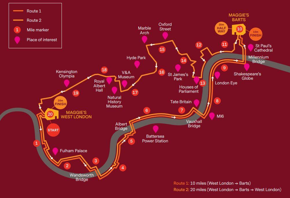 London Night Walk Route